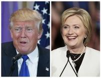 Комбинация фото с изображениями кандидата в президенты США от республиканцев Дональда Трампа (слева) и Хиллари Клинтон, представляющей демократов. Изображение сделано в Палм-Бич, Флорида, 1 марта 2016 года. REUTERS/Scott Audette, Javier Galeano