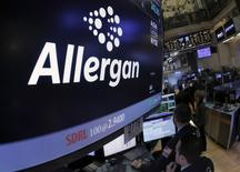Allergan ticker info and symbol are displayed on a screen on the floor of the New York Stock Exchange (NYSE) April 6, 2016. REUTERS/Brendan McDermid