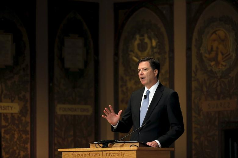 FBI Director James Comey delivers a speech at the Master of Science in Foreign Service CyberProject's sixth annual conference at Georgetown University in Washington D.C., U.S. April 26, 2016. REUTERS/Carlos Barria