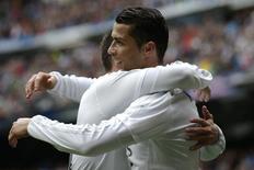 Cristiano Ronaldo comemora gol do Real Madrid contra o Valencia.  8/05/16.   REUTERS/Paul Hanna