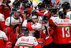 2016 IIHF World Championship - Group B - Hungary v Belarus - St. Petersburg, Russia - 14/5/16 - Players of Hungary celebrate the victory over Belarus. REUTERS/Maxim Zmeyev