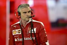 Formula One - Bahrain F1 Grand Prix - Sakhir, Bahrain - 03/04/16 - Ferrari team principal Maurizio Arrivabene looks on in the pits. REUTERS/Andrej Isakovic/Pool?
