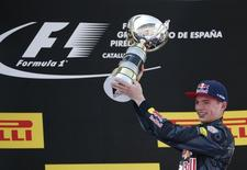 Formula One - Spanish Grand Prix - Barcelona-Catalunya racetrack, Montmelo, Spain - 15/5/16 Red Bull F1 driver Max Verstappen of The Netherlands holds trophy after winning Spanish Grand Prix.   REUTERS/Juan Medina