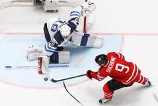 Ice Hockey - 2016 IIHF World Championship - Group B - Canada v Finland - St. Petersburg, Russia - 17/5/16 - Matt Duchene of Canada in action with Mikko Koskinen of Finland. REUTERS/Maxim Zmeyev