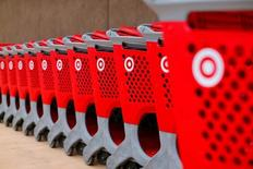 Target shopping carts a shows outside a newly constructed Target store in San Diego, California May 17, 2016.  REUTERS/Mike Blake