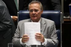 Renan Calheiros participa de sessão no Senado.  9/5/2016. REUTERS/Adriano Machado