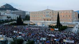 Anti-austerity protesters gather in front of the parliament during a rally in Athens, Greece, July 10, 2015. REUTERS/Jean-Paul Pelissier/File Photo