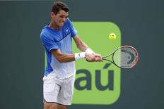 Mar 25, 2016; Key Biscayne, FL, USA; Taylor Fritz hits backhand against David Ferrer (not pictured) during day four of the Miami Open at Crandon Park Tennis Center.  Geoff Burke-USA TODAY Sports