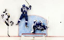May 20, 2016; Tampa, FL, USA; Tampa Bay Lightning goalie Andrei Vasilevskiy (88) and defenseman Slater Koekkoek (29) combine to block the shot from Pittsburgh Penguins right wing Eric Fehr (16) during the third period in game four of the Eastern Conference Final of the 2016 Stanley Cup Playoffs at Amalie Arena. The Lightning won 4-3. Mandatory Credit: Reinhold Matay-USA TODAY Sports