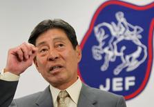 Japan's equestrian rider Hiroshi Hoketsu speaks at a news conference in Tokyo April 12, 2012.    REUTERS/Toru Hanai