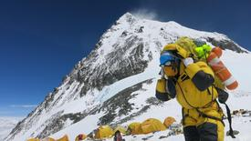 A porter carries goods at camp four at Everest, in this picture taken on May 20, 2016. Phurba Tenjing Sherpa/Handout via REUTERS