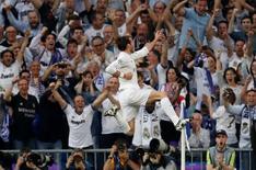 Gareth Bale celebrando gol em partida contra Manchester City pela Liga dos Campeões.   04/05/2016     Reuters/Juan Medina Livepic