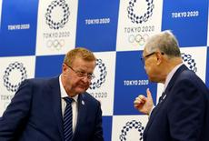 International Olympic Committee (IOC) Chairman of the Coordination Commission for the Tokyo 2020 Games John Coates (L) and Japan's IOC organising committee President Yoshiro Mori leave a news conference in Tokyo, Japan, May 26, 2016. REUTERS/Thomas Peter