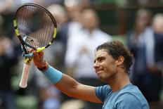 Tennis - French Open - Roland Garros - Rafael Nadal of Spain vs Facundo Bagnis of Argentina. - Paris, France - 26/05/16. Nadal reacts after he won. REUTERS/Pascal Rossignol