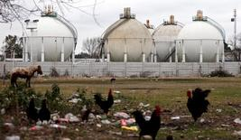 Estanques de gas licuado en la planta de procesamiento de gas de YPF en La Matanza, en las afueras de Buenos Aires, Argentina. 29 de julio de 2015. REUTERS/Marcos Brindicci