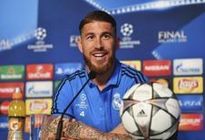 Sergio Ramos, do Real Madrid, durante entrevista coletiva em Milão. REUTERS/Pool/UEFA 27/05/2016