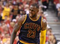 May 23, 2016; Toronto, Ontario, CAN;   Cleveland Cavaliers forward LeBron James (23) reacts after dunking for a basket against Toronto Raptors in the second quarter of game four of the Eastern conference finals of the NBA Playoffs at Air Canada Centre. Mandatory Credit: Dan Hamilton-USA TODAY Sports