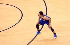May 28, 2016; Oklahoma City, OK, USA; Golden State Warriors guard Stephen Curry (30) reacts after hitting a three point shot during the second half against the Oklahoma City Thunder in game six of the Western conference finals of the NBA Playoffs at Chesapeake Energy Arena. Mandatory Credit: Kevin Jairaj-USA TODAY Sports