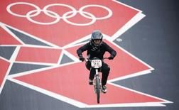 File photo of New Zealand's Sarah Walker competing in the women's BMX seeding run during the London 2012 Olympic Games at the BMX Track in the Olympic Park August 8, 2012. REUTERS/Mike Blake