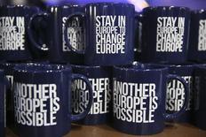 Чашки с призывом голосовать за сохранение Британии в ЕС во время демонстрации в Лондоне. 28 мая 2016 года. Девять из десяти ведущих британских экономистов, работающих в лондонском Сити - деловом и финансовом центре города - мелком предпринимательстве и научной сфере, считают, что выход Британии из Евросоюза навредит экономике страны, показал опрос в воскресенье. REUTERS/Neil Hall