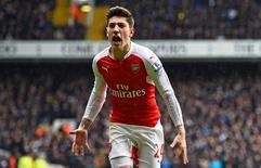 Lateral-direito do Arsenal Hector Bellerín durante partida da Liga Inglesa.    05/03/2016   Reuters / Dylan Martinez Livepic
