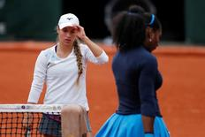 Tennis - French Open Womens Singles Quarterfinal match - Roland Garros - Serena Williams of the U.S. vs Yulia Putintseva of Kazakhstan - Paris, France - 02/06/16. Yulia Putintseva reacts. REUTERS/Benoit Tessier