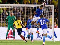 Brazil defender Marquinhos (13) heads the ball away from the goal against Ecuador during the second half during the group play stage of the 2016 Copa America Centenario at Rose Bowl Stadium. Mandatory Credit: Kelvin Kuo-USA TODAY Sports