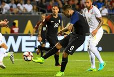 Jun 7, 2016; Chicago, IL, USA;  United States midfielder Clint Dempsey (8) shoots the ball against Costa Rica in the second half during the group play stage of the 2016 Copa America Centenario at Soldier Field. The United States defeated Costa Rica 4-0.  Mandatory Credit: Mike DiNovo-USA TODAY Sports