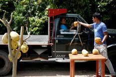 19-летний Хосуэ Морено дает кокос покупателю. Ла-Фрия, Венесуэла, 2 июня 2016 года. Сезон манго в Венесуэле немного облегчил положение жителей страны, столкнувшихся с острым дефицитом продуктов, который заставляет бедных голодать и приводит к вспышкам мародерства. REUTERS/Carlos Garcia Rawlins