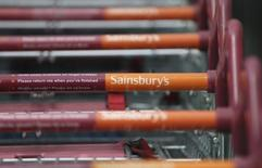 Shopping trolleys are seen at a Sainsbury's store in London, Britain April 30, 2016. Photograph taken April 30, 2016.  REUTERS/Neil Hall