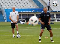 Football Soccer - France Training - Stade de France, Saint-Denis near Paris, France - 9/6/16 France head coach Didier Deschamps and Dimitri Payet (R) during training REUTERS/Darren Staples Livepic