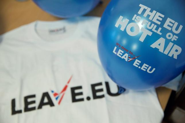Branded merchandise is seen in the office of pro-Brexit group pressure group ''Leave.eu'' in London, Britain February 12, 2016.  REUTERS/Neil Hall