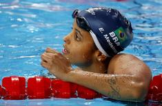 Nadadora brasileira Etiene Medeiros durante prova do Mundial de Kazan. 05/08/2015     REUTERS/Michael Dalder