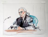 Guitarrista Jimmy Page durante testemunho em desenho feito em tribunal federal em Los Angeles.    14/06/2016      REUTERS/Mona Edwards