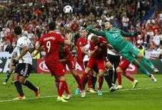Football Soccer - Germany v Poland - EURO 2016 - Group C - Stade de France, Saint-Denis near Paris, France - 16/6/16 Poland's Lukasz Fabianski punches clear REUTERS/Kai Pfaffenbach