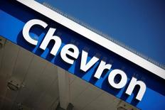 The logo of Chevron is seen in Los Angeles, California, United States, April 12, 2016. REUTERS/Lucy Nicholson/Files