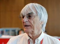 F1 supremo Bernie Ecclestone speaks to the media. REUTERS/Maxim Shemetov