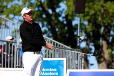Australia's Scott Hend tees out during the third round at Bro Hof golf club during the Nordea Masters tournament in Stockholm, Sweden, June 4, 2016. TT News Agency/Fredrik Persson/via REUTERS