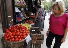 Una mujer mira los precios de los vegetales en una tienda en Buenos Aires, Argentina. 30 de enero de 2014. El Gobierno argentino dijo el martes que volverá a utilizar como referencia el índice de inflación del ente de estadísticas Indec para ajustar los bonos soberanos ligados a la variación de precios, a partir del 26 de junio. REUTERS/Stringer