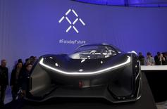 The Faraday Future FFZERO1 electric concept car is shown after an unveiling at a news conference in Las Vegas, Nevada January 4, 2016. REUTERS/Steve Marcus