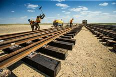 K+S Potash Canada partnered with Canadian Pacific (CP) to build a rail line for Potash that is bound for port and will be transported from the Legacy Project mine site near Bethune, Saskatchewan, Canada, in this May 16, 2016 handout photo.  Greg Huszar Photography via K+S Potash Canada/Handout via Reuters