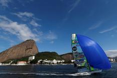 Brazilian Olympic team sailors Marco Grael and Gabriel Borges sail their 49er sailing class during a training session in Rio de Janeiro, Brazil, June 22, 2016. REUTERS/Sergio Moraes