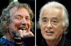 """Combinación de fotos de Robert Plant (izq.), cantante de Led Zeppelin, y del guitarrista de la banda Jimmy Page, en Nueva York y Toronto respectivamente. 9 de octubre de 2012 y 21 de julio de 2015. El """"riff"""" de guitarra que Led Zeppelin usó en su clásico de 1971 """"Stairway to Heaven"""" difiere sustancialmente de uno del grupo Spirit por el que la mítica banda de rock fue acusada de plagio,  dictaminó el jueves el jurado de una corte en Los Angeles. REUTERS/Carlo Allegri, Hans Deryk/File photos"""