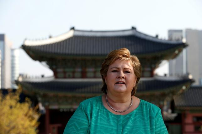 Norwegian Prime Minister Erna Solberg looks on during her visit to Gyeongbok Palace in Seoul, South Korea, April 14, 2016. REUTERS/Kim Hong-Ji