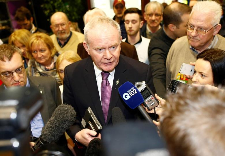 Sinn Fein politician and Northern Ireland's Deputy First Minister Martin McGuinness attends a general election count at the Royal Dublin Society centre in Dublin, Ireland February 27, 2016.   REUTERS/Darren Staples