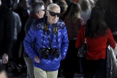 New York Times photographer Bill Cunningham arrives before the Marc Jacobs Fall/Winter 2016 collection during New York Fashion Week  in the Manhattan borough of New York, February 18, 2016.   REUTERS/Carlo Allegri
