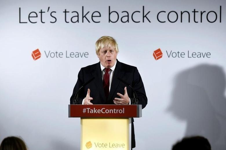 Vote Leave campaign leader Boris Johnson speaks at the group's headquarters in London, Britain June 24, 2016.  REUTERS/Mary Turner/Pool