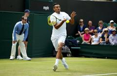 Britain Tennis - Wimbledon - All England Lawn Tennis & Croquet Club, Wimbledon, England - 28/6/16 Australia's Nick Kyrgios in action against Czech Republic's Radek Stepanek REUTERS/Andrew Couldridge