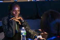 Sally Kipyego of Kenya listens to questions during a news conference before the New York Marathon in Central Park, October 30, 2015.  REUTERS/Lucas Jackson