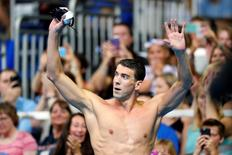 Jun 29, 2016; Omaha, NE, USA;  Michael Phelps reacts after the finals for the men's 200 meter butterfly during the in the U.S. Olympic Swimming Team Trials at CenturyLink Center. Mandatory Credit: Rob Schumacher-USA TODAY Sports